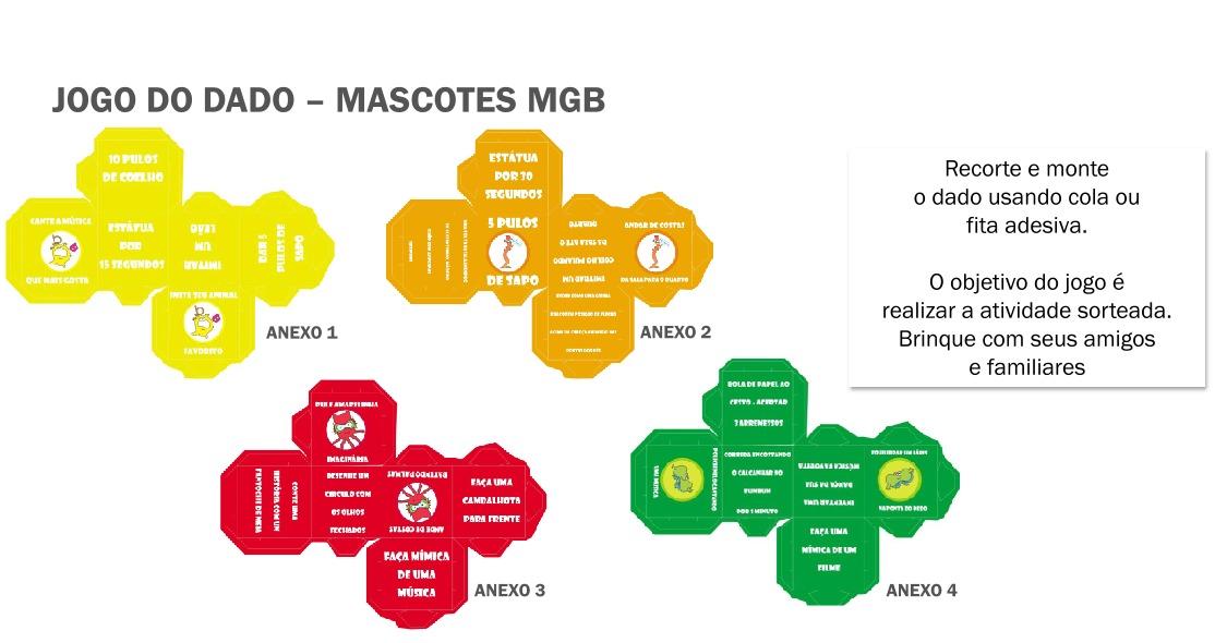 Jogo dos Dados com Mascotes MBG