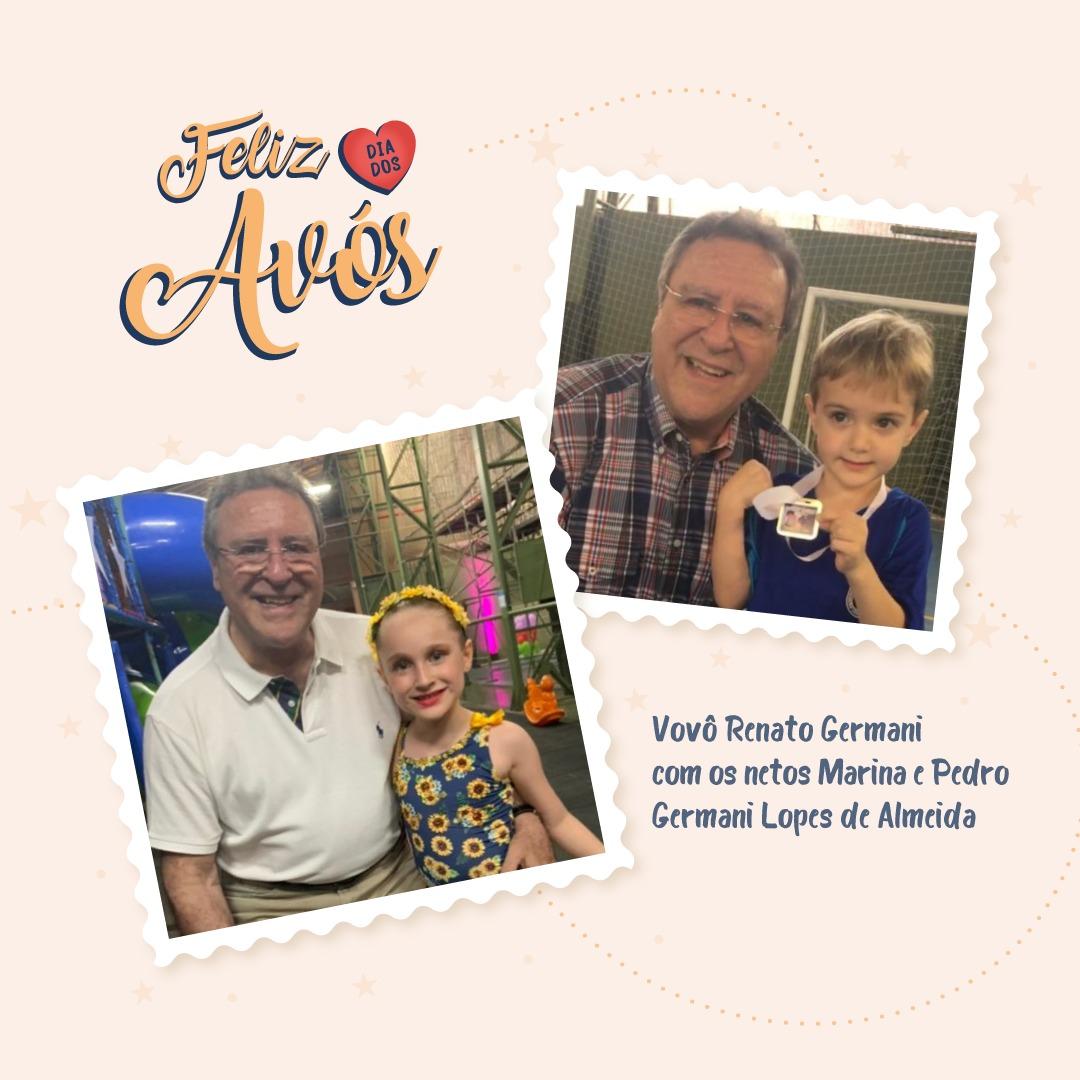 Vovô Renato Germani com os netos Marina e Pedro